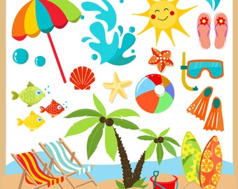 Summer  / Beach clipart Clip Art / summer Digital Clipart - Instant Download - EPS and PNG files included - summer  clipart