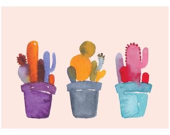 "A5 | watercolour Cactus archival print (8"" x 12"")"