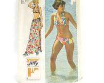 Vintage 1970s Simplicity 5644 Size 8 to 10 Juniors Bikini Swim Suit or Beach Wrap Pattern 32 bust