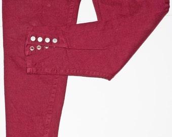 1980s Womens Maroon Stretch Jordache Jeans Sz L Synth Pop Boy George Madonna Punk Rock