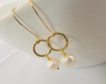 Freshwater Pearls Matte Gold Handcrafted Drop Earrings