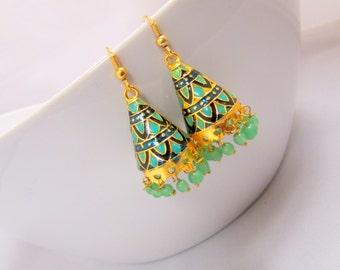 Green and Black Meenakari Handcrafted Jhumka Earrings, Bollywood Jewelry, Ethnic Earrings, Tribal Jewelry