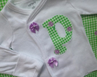 Baby Girl Take Home Outfit || PICK YOUR INITIAL || Letter Sweater ~ Side Snap Shirt | Twin Baby Girl Clothes | Personalized Baby Shower Gift