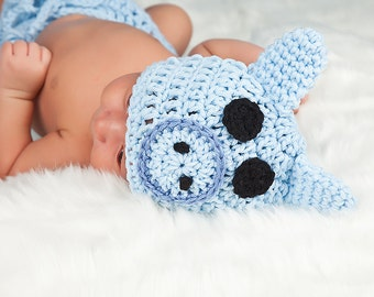 Crochet Blue Pig PIGGY Hat Many Sizes preemie, newborn, 0-3 month,3-6 month, 6-12 month,, 1-3 yr also available in blue