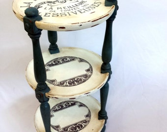 Upstyled Vintage Plant Stand, Three-Tier French Side Table with Medallion Accents