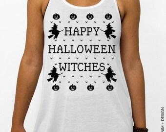 Halloween Shirt - Happy Halloween Witches - White Flowy Tank Top