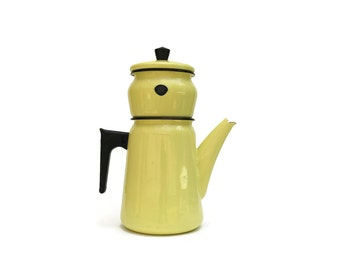 French Enamel Coffee Pot. Vintage Enamelware. Yellow Teapot. Yellow Kitchen Decor. Rustic Decor. Enamelware Coffee Maker.