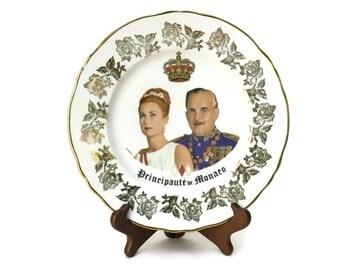 Princess Grace Kelly Monaco Souvenir Plate. Vintage French Porcelain Wall Plate. Royal Memorabilia.