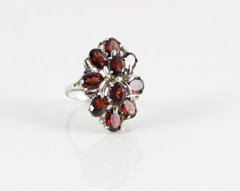 Vintage Sterling Silver Garnet Band Ring Size 7 3/4