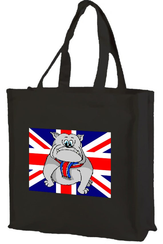 Startled British Bulldog Union Jack  Cotton Shopping Bag with gusset and long handles, 3 colour options