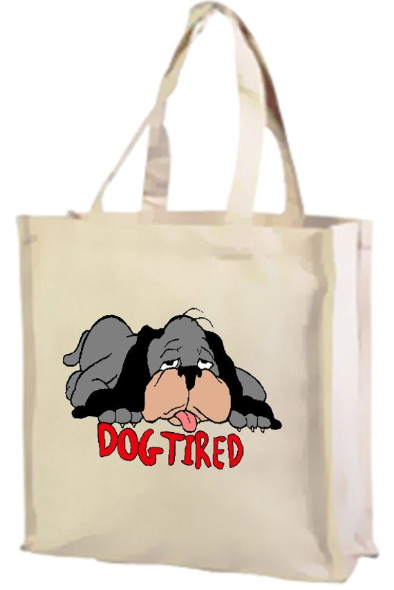 Dog Tired Cotton Shopping Bag with gusset and long handles, 3 colour options