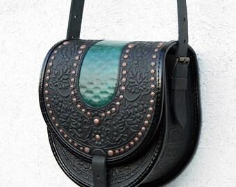 black green tooled leather bag - shoulder bag - crossbody bag - handbag - ethnic bag - messenger bag - for women - capacious
