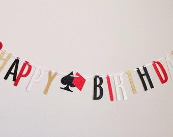 Happy Birthday Banner ; Vegas Birthday ; Casino Birthday Glitter Party Decorations ; Las Vegas ; Poker Decor