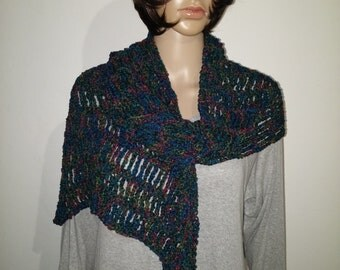 Crochet shawl in red, yellow, green, blue