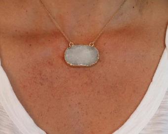 Druzy Necklace, 14K Gold Edge, Quartz Necklace, Gold Fill Chain, DO-1