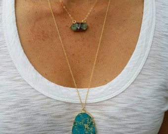 Jasper Necklace, 14K Gold Edge, Quartz, Layering Necklace, Blue, Gold Fill Chain B-1