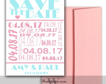 Save the Date Cards, Pink and Aqua, Modern Wedding Announcements- Set of 10