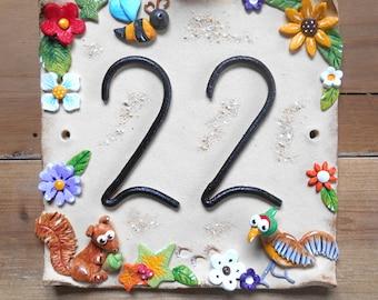 House number sign, address number plaque, Ceramic, Woodlands Design