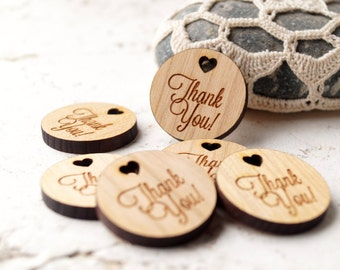 Wedding favor tags, thank you tags, wooden tags, diy wedding favor, gift, shower tags, real wood tags, laser cut engraved tags, set of 25