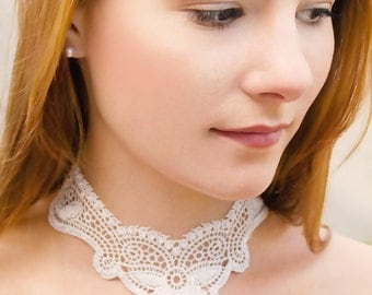 Bridal lace necklace bead embroidery romantic wedding choker OOAK