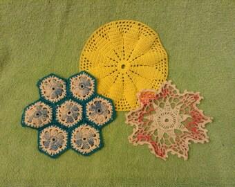 3 Colorful Doilies - Crochet/ Tatting