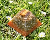 TIGER'S EYE Orgone Pyramid - EMF Protection - Energy Healing Spiritual Gift