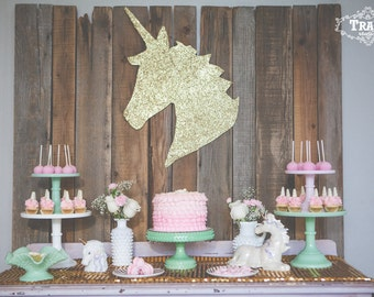 Unicorn Wall Art Hanging Gold Sparkle, Party Decor, Room Decor, Nursery.