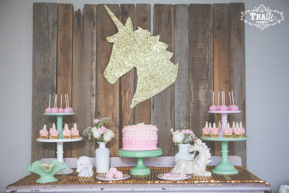 Unicorn Wall Art Hanging Gold Sparkle Party Decor Room