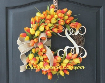 Spring Wreath - Wreath for Spring- Door Wreaths Mothers Day Gift Spring Celebrations Gift Ideas