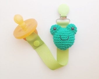 Frog Pacifier Clip, Frog Paci Clip, Ribbon Pacifier Clip, Paci Clip, Soothie Clip, Paci Holder, Frog Baby Gifts, Pacifier Holder