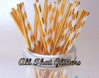 50 Gold Foil Straws  - All That Glitters