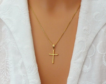Cross Necklace - Gold Cross - Faith Forever Necklace - Gold Vermeil  Cross Necklace - Confirmation