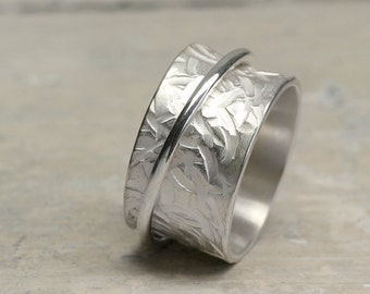 Silver Rotating Ring, Spinning Ring, Rotating ring relief, 925 sterling silver