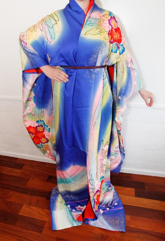 Vintage Japanese Royal Blue Kakeshita Wedding Kimono, Bridal Kimono