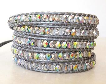 Boho chic silver vitrail wrap bracelet/ Bohemian czech glass gray bling leather ladder 5 wrapped yoga bracelet