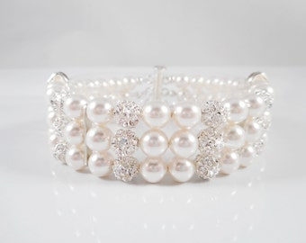 FREE US Ship 3 Strand Swarovski Pearl And Rhinestone Bridal Bracelet Swarovski Pearl And Fireball Bridal Bracelet Bridesmaid Bracelet