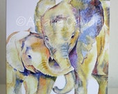 Mother's Day Card, blank greetings card, Watercolour Card, Watercolor Card, Elephant Card, Mum and Baby Card, New Baby Card, Father's Day