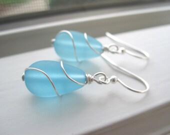 Blue Bridesmaid Jewelry - Sea Glass Earrings - Sea Glass Jewelry - Aqua Blue Jewelry - Light Blue Earrings - Beach Jewelry - Wedding