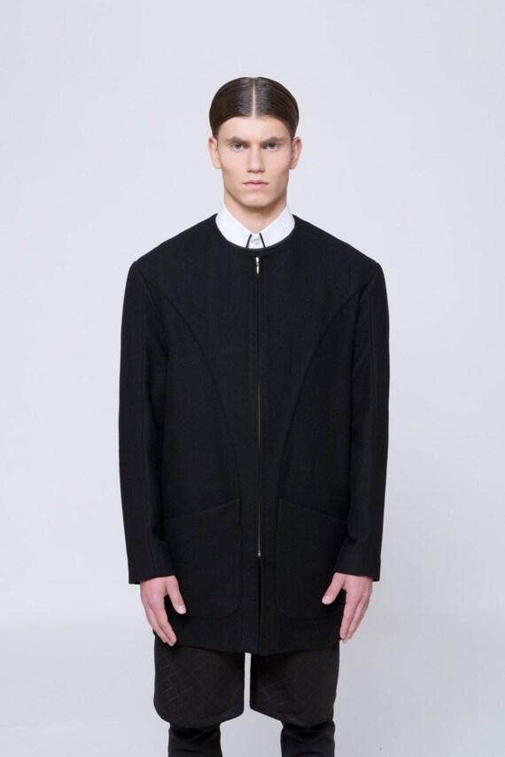 Mens Coat Mens Wool Coat Mens Black Coat Mens Long Coat Mens