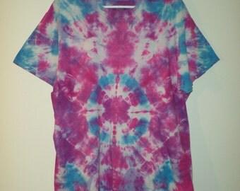 Water Drops Tye Dye T-shirt, Blue Purple and Amethyst Tye Dyed T, Adult Large