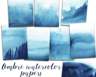 Watercolor Digital Paper, Ombre Watercolor Background, Watercolor cards, Marine papers, Nautical clipart
