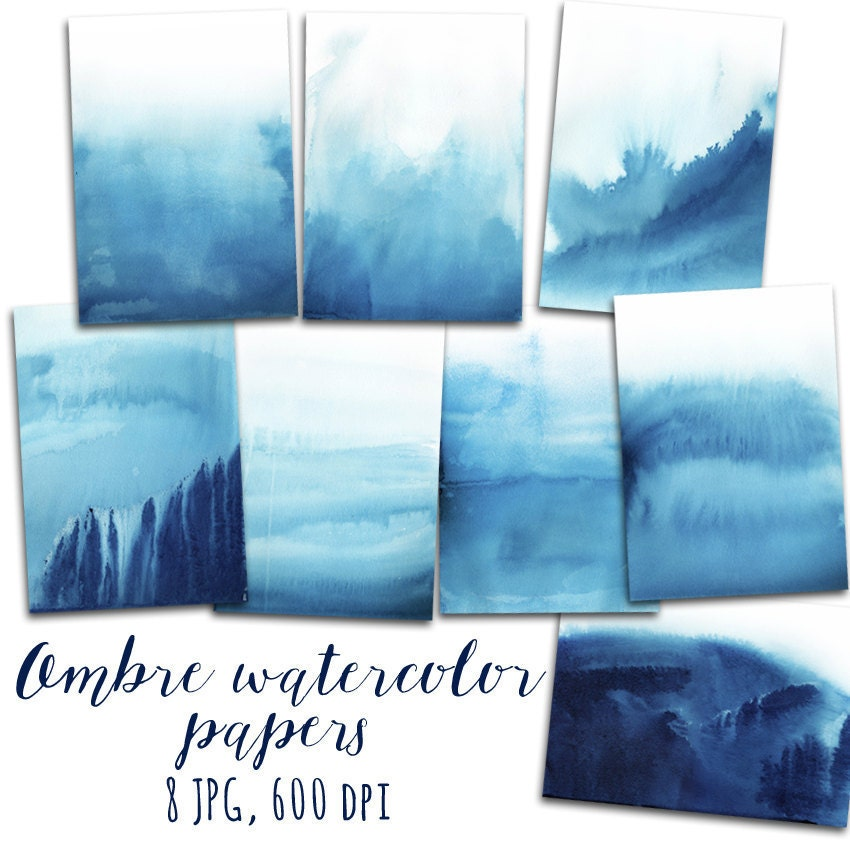 Watercolor Digital Paper Ombre Watercolor Background