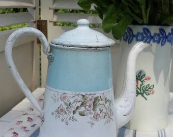 Coffee pot, French enamel in soft pastel colours