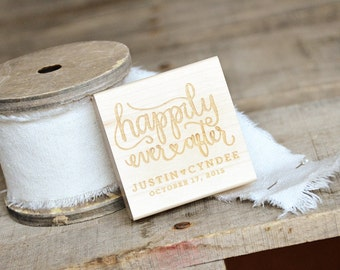 Personalized Happily Ever After Rubber Stamp for Wedding Stationery and Favor Tags for Weddings or Baby-Bridal Showers