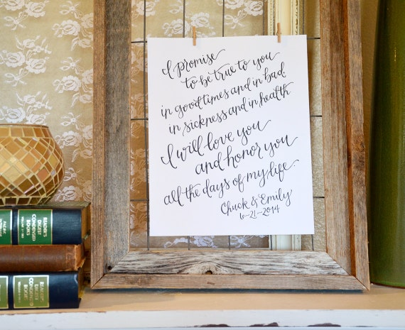Wedding Vow Renewal Gift For Husband : Handwritten Wedding Vows Art Print. Personalized Wedding Vow