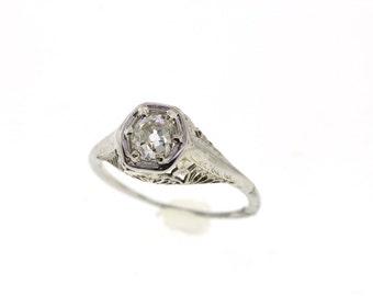 SALE! Vintage Old Mine Cushion Cut Diamond Engagement Ring, Vintage Edwardian Art Deco Wedding Ring