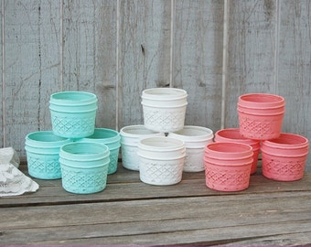 Mason Jars, Shabby Chic, Mint Green, Coral, White, Painted, Distressed, Jelly Jars, Tea Light, Candle Holders, Set, Wedding Decor, Rustic