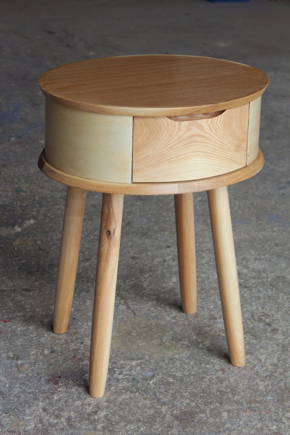 Nightstand Table: Round Solid Oak Bedside Table/ Nightstand/ Custom Made/