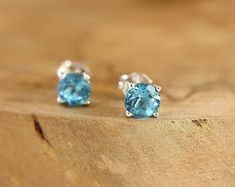 Blue topaz stud earrings Sterling silver sky blue studs 6 mm natural gemstone post earrings Gift idea for her Everyday jewelry by Freesize