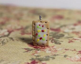 Poptart Charm, Polymer Clay, Handmade, Miniature Food